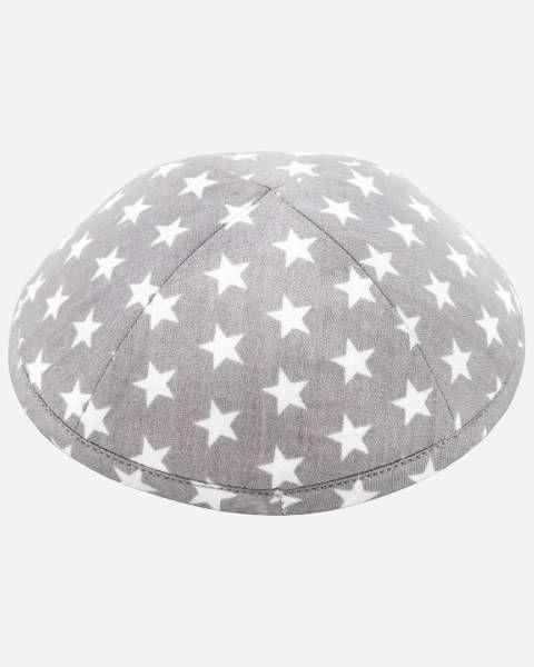 White Stars on Gray Designer Yamaka