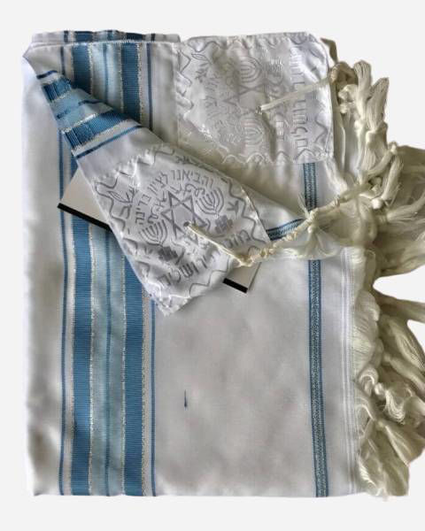 Luxury silver and light blue tallit
