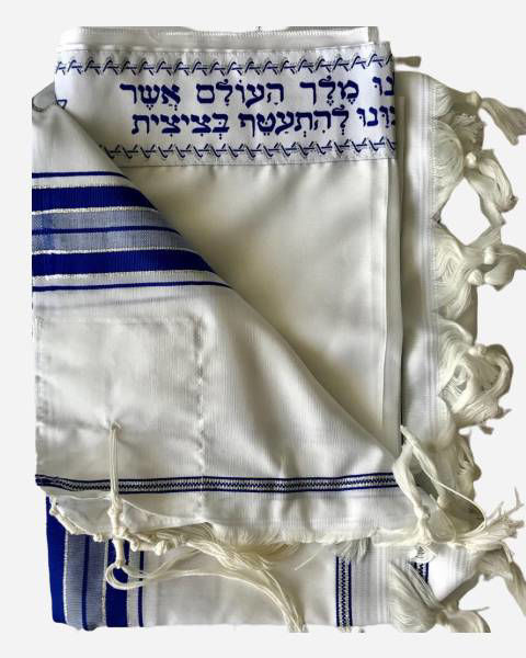 Luxury silver and blue tallit
